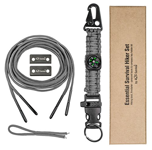 Essential Survival Kit: Paracord Fire Starter Laces - Compass, Key Chain, Emergency Whistle, Carabiner - Hiking Survival Gear (Gray, 63