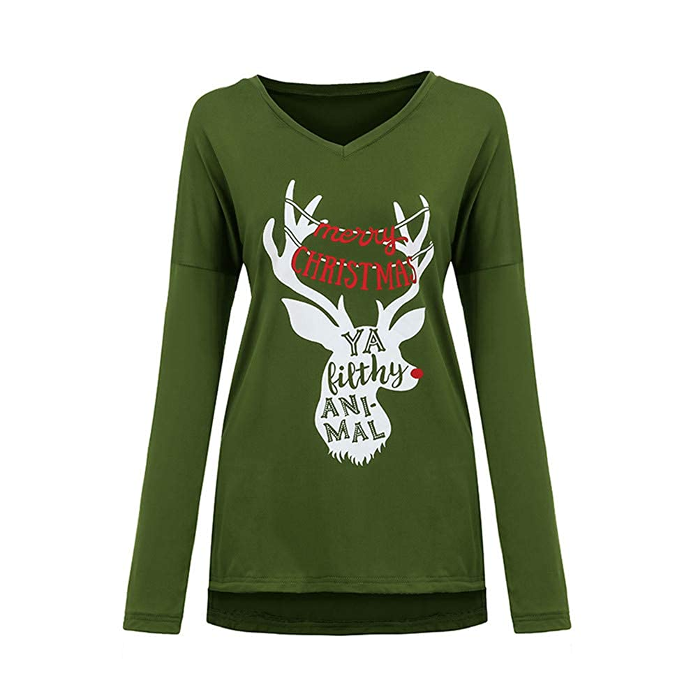 MODOQO Womens Long Shirt Christmas Elk Print Pullover Sweatshirt Tunic Blouse