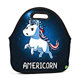 America Unicorn Lunch Bag Waterproof Tote Bag with Zipper for Kids, Students and Adults