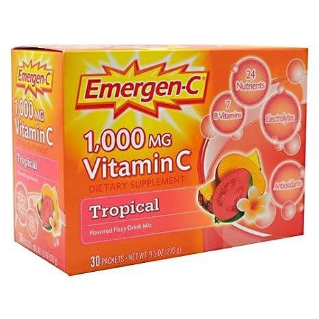 Alacer - Magnesio tropical del aumentador de presión de la energía de la vitamina C 1000 de Emergen-C. - 30Paquetes: Amazon.es: Salud y cuidado personal