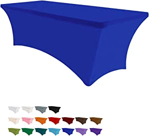 Eurmax 4Ft Rectangular Fitted Spandex Tablecloths Wedding Party Patio Table Covers Event Stretchable Tablecloth (Blue)