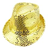 LOCOMO Women Girl Fedora Trilby Homburg Stetson Short Brim Sequin Glitter Hat Dance Dancer Stage Party FFH012GOL Metallic Gold
