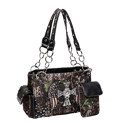 [Black Camo Camouflage Bling Cross Wings Camo Christian Designer Concealed Carry Chain Purse Western Handbag TravelNut Top Valentines Day Birthday Gift Idea Her Mom Women] (Western Day Dress Up Ideas)