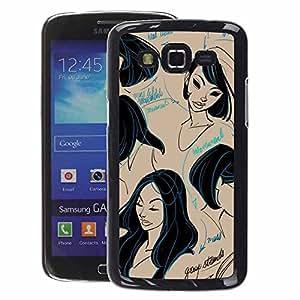 A-type Arte & diseño plástico duro Fundas Cover Cubre Hard Case Cover para Samsung Galaxy Grand 2 (Black Hair Design Hairdresser Cutting)