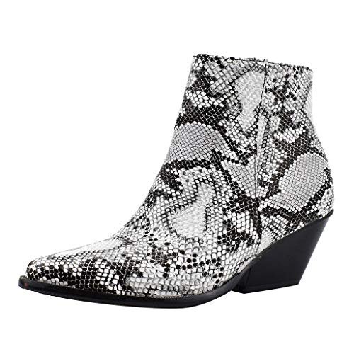 Zlolia Women's Snakeskin Ankle Boots Low Chunky Stacked Heel Casual Martin Bootie Pointed Toe Side Zipper Work Combat Boots White (Wii U Console Best Price Uk)
