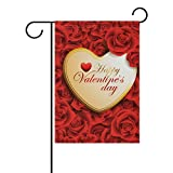 U LIFE Happy Valentines Day Floral Red Roses Heart Love Garden Yard Flag Banner for Outside House Flower Pot Double Side Print 40 x 28 Inch