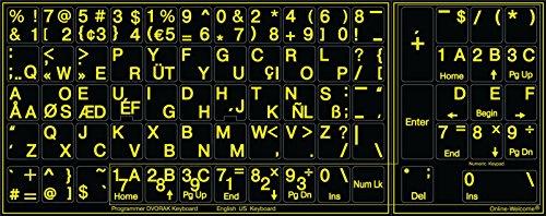 Glowing Fluorescent Programmer Dvorak English US Keyboard Sticker