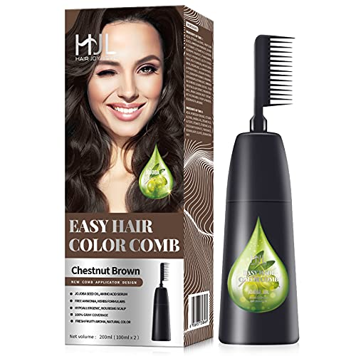 HJL Hair Color Permanent Hair Dye Cream with Comb Applicator Ammonia-Free 100% Gray Coverage, Chestnut Brown (Dark Brown), Pack of 1