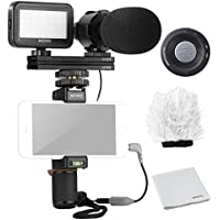 Movo Smartphone Video Kit V7 with Grip Rig, Pro Stereo Microphone, LED Light & Wireless Remote - for iPhone 5, 5C, 5S, 6, 6S, 7, 8, X (Regular and Plus), Samsung Galaxy, Note & More