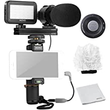 Movo Smartphone Video Rig Kit V7 with Grip Rig, Pro Stereo Microphone, LED Light & Wireless Remote - YouTube Equipment for iPhone 5, 5C, 5S, 6, 6S, 7, 8, X, XS, XS Max, Samsung Galaxy, Note & More