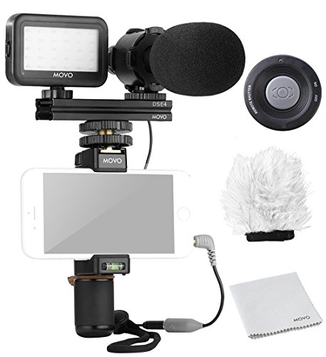 Movo Smartphone Video Rig Kit V7 with Grip Rig, Pro Stereo Microphone, LED Light and Wireless Remote - YouTube Equipment for iPhone 5, 5C, 5S, 6, 6S, 7, 8, X, XS, XS Max, Samsung Galaxy, Note and More