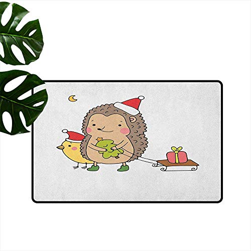 LilyDecorH Hedgehog,Washable Entrance Doormat Cartoon Hedgehog with Bird and a Christmas Tree Pulling Sled Holiday Themed Image 31