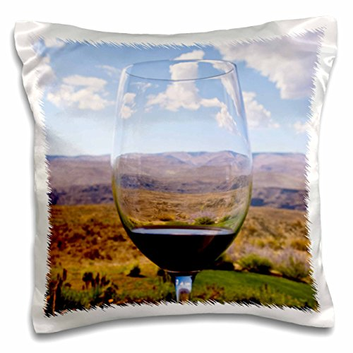 Danita Delimont - Wineries - Washington, Quincy, Wine glass, Cave B Inn Winery - US48 BJA0155 - Jaynes Gallery - 16x16 inch Pillow Case (pc_95136_1) Red River Winery