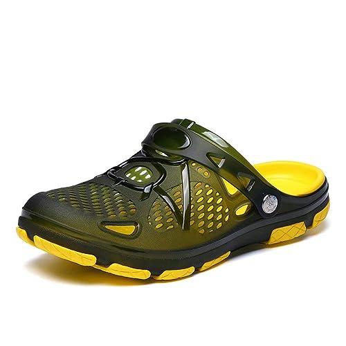 749551fdfbc Zuecos Hombre Playa Piscina Sanitarios Enfermera Goma Verano Zapatillas de  Trabajo Sandalias Negro Azul Amarillo 40-45  Amazon.es  Zapatos y  complementos