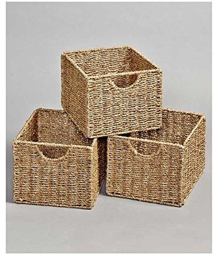 (Wooden Multi Use Storage Unit Cabinet Organizer (Set of 3 Baskets))