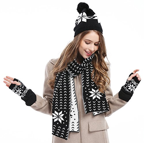 s snowflake hat gloves and scarf winter set black
