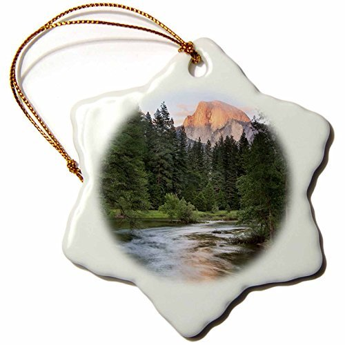 Ornaments to Paint 142862_1 Half Dome, Merced River, Yosemite, California, USA US05 TNO0028 Tom Norring Snowflake Ornament, Porcelain, 3-Inch