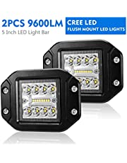 LITEWAY - Flush Mount Led Pods - 5 Inch Spot Flood Combo Beam LED Light Bar - 4800LM Work Driving Lights Off Road for Trucks Tractor SUV 4x4 ATV UTV - 2 Pack