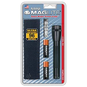 Maglite M2A01H AA Mini Flashlight and Holster Combo-Pack (Black)