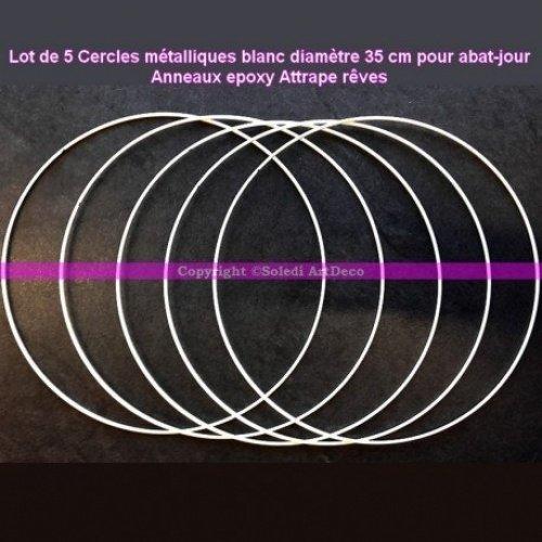 Lealoo Set di 5 Cerchi Metallici Bianco Diametro 35 cm per Paralume, Anelli Epoxy Acchiappa Sogni Lealoo®