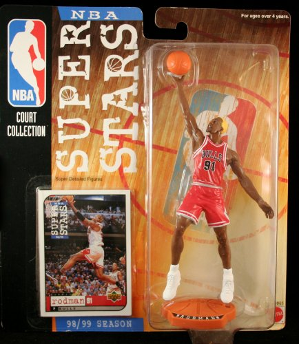 DENNIS RODMAN / CHICAGO BULLS * 98/99 Season * NBA SUPER STARS Super Detailed Figure, Display Base & Exclusive Upper Deck Collector Trading Card