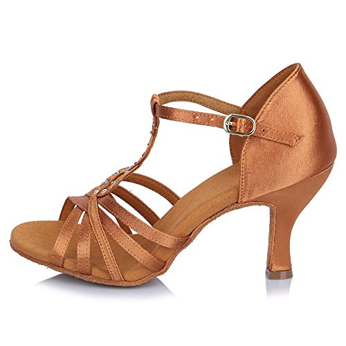soft dance Latin Women's 65mm YFF sole Ballroom shoes Satin adult Brown Yp6PHq