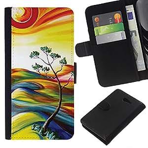 Planetar® Modelo colorido cuero carpeta tirón caso cubierta piel Holster Funda protección Para Sony Xperia M2 / M2 dual ( Painting Nature Sun Summer Tree )