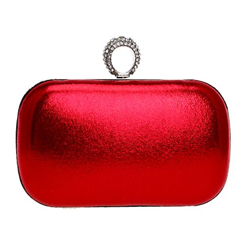 Shoulder PU Wallet Purse Dress Clutch Womens Bags Wedding Bags Red Evening Ladies Chain x1P6qFwcz