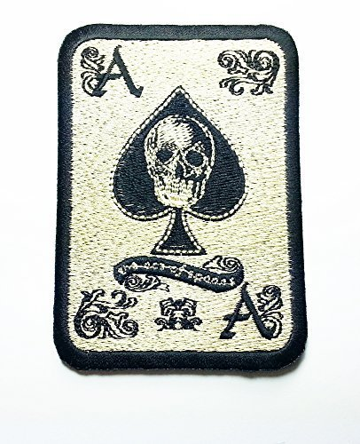 ACE of Spades Death Card Vitenam Military Biker Skull Logo Jacket Vest shirt hat blanket backpack T shirt Patches Embroidered Appliques Symbol Badge Cloth Sign Costume Gift