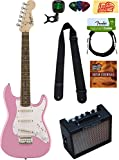 Squier by Fender Mini Strat Electric Guitar Bundle with 10-Watt Guitar Amp, Instrument Cable, Strings, Tuner, Strap, Stringwinder, Picks, Instructional DVD, and Polishing Cloth - Pink