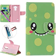 LG G4 Stylus LS 770 Case, ISADENSER Premium Mobile Cover Protect Skin Leather Cases Covers With Card Slot Holder Wallet Book Design For LG G Stylo LS770, Smile Face