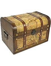 Het kostuumland piraten schatkist van hout met landkaart - 30x19 cm