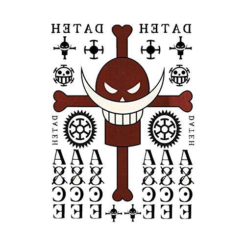 Anime One Piece Portgas D Ace Cosplay Back Sleeve Temporary Tattoo (A4)