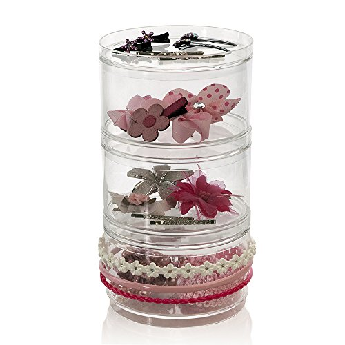 Shadow Pots Eye Mousse (3-Pack Stackable Clear Plastic Hair Accessory Containers with Lids)