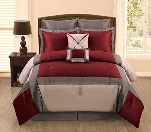 Legacy Decor 7 PC Burgundy, Grey and Silver Faux Silk Queen Comforter Bedding Set
