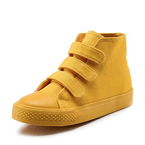 MK MATT KEELY High Top Canvas Shoes Kids Boys Yellow Sneakers For Toddler Girl Hook Loop School Board Shoes(Toddler Little/Big Kids) US 13 M Little Kid=Insole length 20cm Yellow