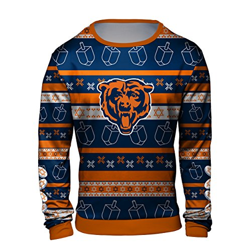 Forever Collectibles Chicago Bears Hanukkah Printed Ugly Crew Neck Sweater - Mens Large (Chicago Bears Sweater Christmas)