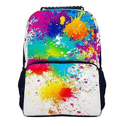 Splatter Motorcycle - Splatter Paint Shoulders Backpack Cool Two Mesh Side Pockets Book Bag For Adults And Children
