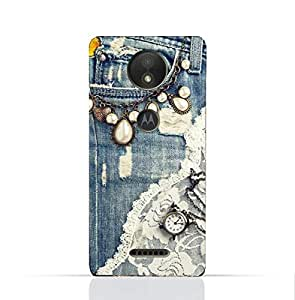Motorola Moto C Plus TPU Silicone Case With Modern Jeans Pattern.