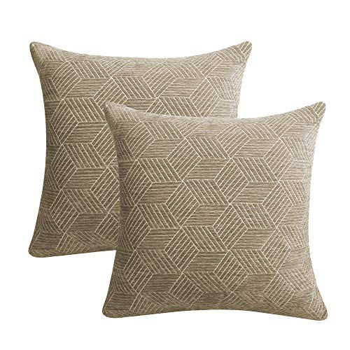 ALBAD Throw Pillow Cover 18 x 18 Inch Sets of 2 Brown Decorative Square Pillow Covers 100% Cotton Decorative Square Cushion Case Sofa Durable Modern Stylish
