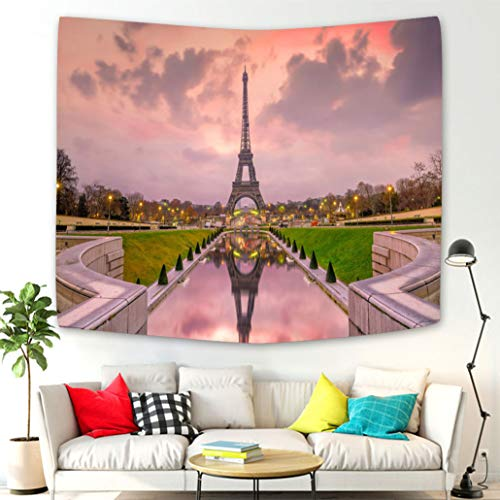 Beisasa Home Wall Hanging Nature Art Fabric Tapestry Eiffel Tower at Sunrise from Trocadero Fountains in Paris Wall Hanging Tapestries for Living Room and Bedroom