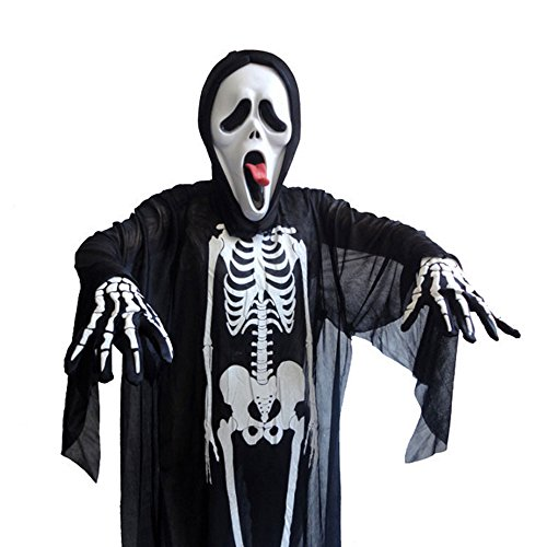 [Halloween Novelty Black Skeleton Scary Bone Suit Costume for Adults And Kids] (Scary Woman Devil Costume)