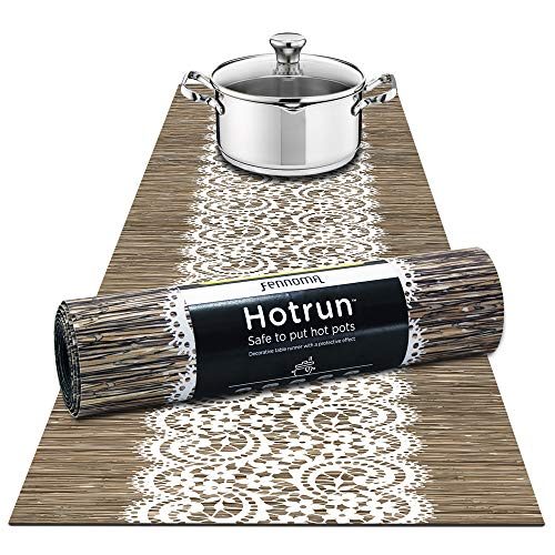 Hotrun  2 in 1 - Trivet and Decorative Table Runner Handles Heat Up to 356F, Anti Slip, Waterproof, and Convenient for Hot Dishes and Pots (Abstract Wood & lace)