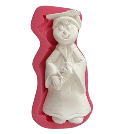 Karen Baking Chico lindo con la forma del vestido académico 3D de silicona pasta de azúcar