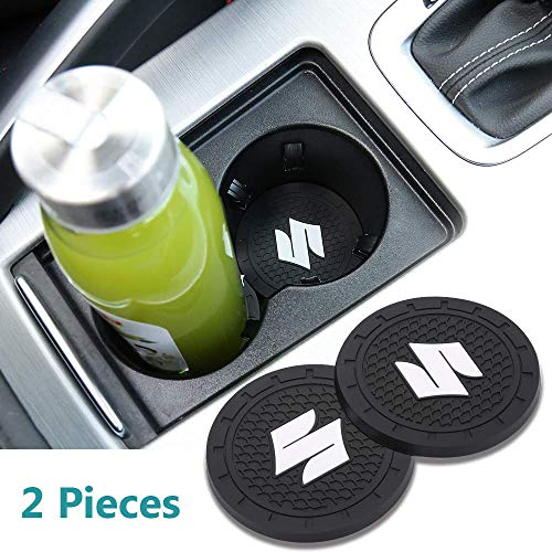 Auto sport 2.75 Inch Diameter Oval Tough Car Logo Vehicle Travel Auto Cup Holder Insert Coaster Can 2 Pcs Pack (Suzuki)