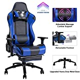 KILLABEE Massage Gaming Chair Racing Office Chair - Adjustable Massage Lumbar Cushion, Retractable