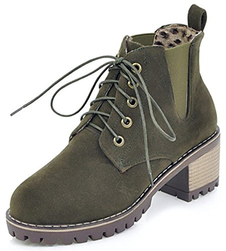 Aisun Womens Casual Elastic Lace Up Round Toe Booties Platform Stacked Mid Heel Ankle Boots Olive