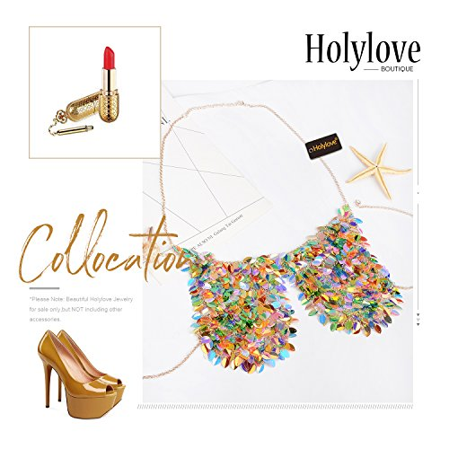 Holylove Paillette Sequin Bra Tops Body Chain Necklace Jewelry Colorful Sexy Charm for Women Lady Summer Beach Hawaiian Style Bikini Beachwear - HLBN5 Colorful by Holylove (Image #6)