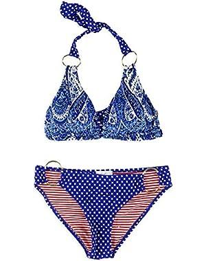 Jessica Simpson Womens Paisley Ring 2 Piece Bikini