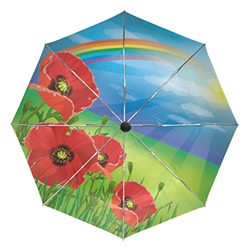 BAIHUISHOP Poppy Sun Blue Sky Rainbow Windproof Umbrellas Auto Open Close 3 Folding Golf Strong Durable Compact Travel Umbrella Uv Protection Portable Lightweight Easy Carrying and Slip-Proof Handl